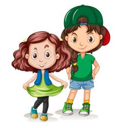 set of girl character vector image