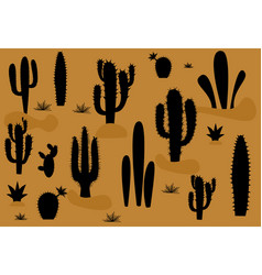 set of of cute cactus and succulents vector image