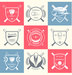 set of vintage baseball logos and badges vector image