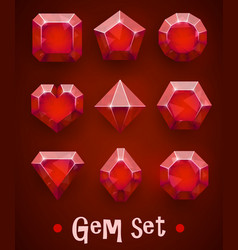 set realistic red gems various shapes ruby vector image