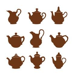 Set teapot icons vector