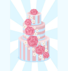 Three-tier wedding cake decorated with glaze roses vector