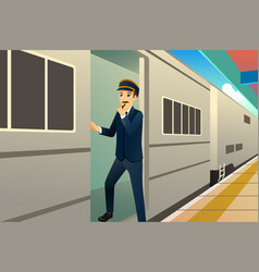 Train conductor vector