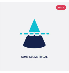 Two color cone geometrical icon from education vector