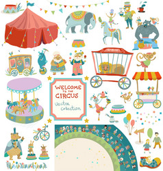 vintage circus collection elements vector image