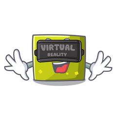 virtual reality square mascot cartoon style vector image