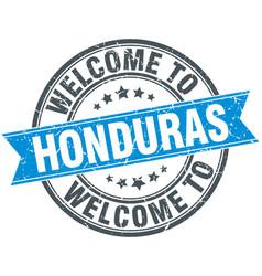 Welcome to honduras blue round vintage stamp vector