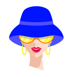 Woman in blue hat vector