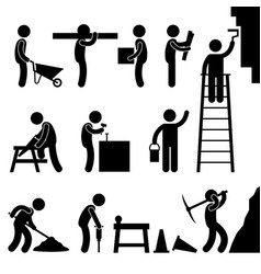 Working construction hard labor pictograph icon vector