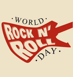 World rock n roll day letter hand drawn vector