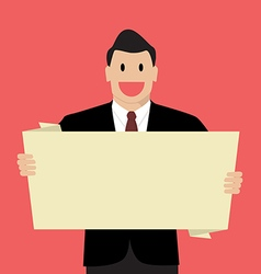 Businessman holding white board vector image