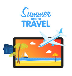 buy air tickets traveling on airplane planning a vector image vector image