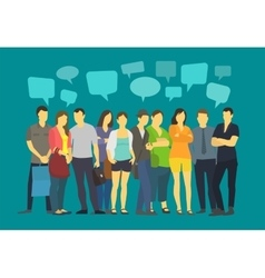 Community many ordinary people crowd talking vector image