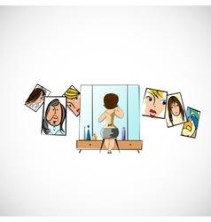 Girl preens before a mirror sketch vector image
