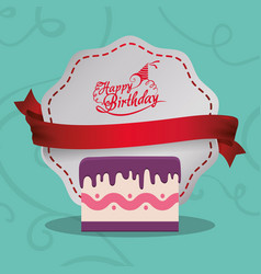 happy birthday card cake sweet banner vector image vector image