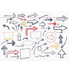 hand drawn arrows icons set on white vector image vector image