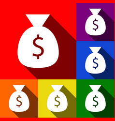 money bag sign set of icons vector image