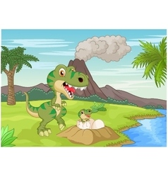 Mother tyrannosaurus with baby hatching vector
