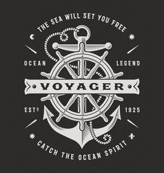 nautical voyager typography on black background vector image vector image