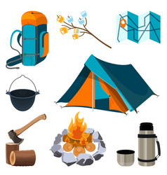 set of camping elements isolated on white vector image
