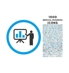 Bar Chart Presentation Rounded Icon with 1000 vector image
