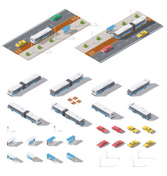 bus stop and road architecture isometric icon set vector image vector image