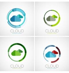 Cloud storage logotype set flat design vector image