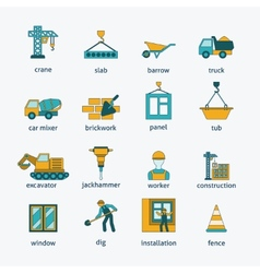 Construction icons flat line set vector image vector image
