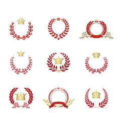 Crown And Laurel Wreaths Set Red vector image