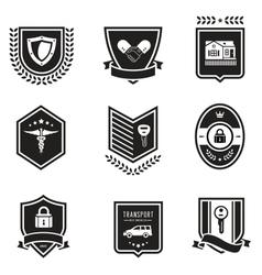 Handshake insurance badges vector