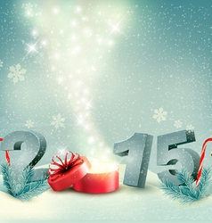 Holiday background with a gift box and 2015 vector