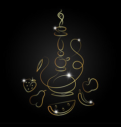 hookah with fruit golden silhouette vector image vector image