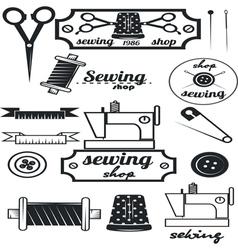 Set of vintage tailor labelssewing workshop vector image