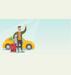 young caucasian man waving in front of car vector image vector image