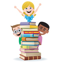 books and kids vector image vector image