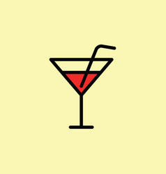 cocktail icon thin line color vector image