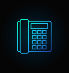 landline phone blue icon - old telephone vector image vector image