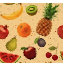 Pattern pixel fruits kraft vector image vector image