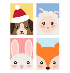 Set of animals covers design fox rabbit dog sheep vector