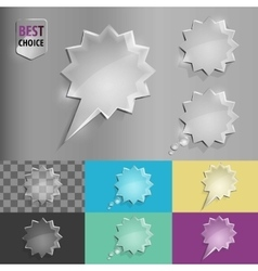Set of glass speech bubble starburst icons with vector image