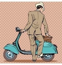 The man gets a scooter vector image