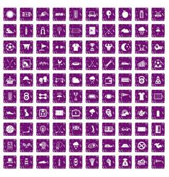 100 golf icons set grunge purple vector