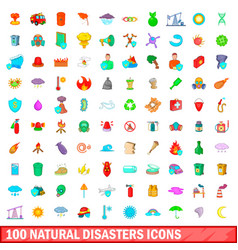 100 natural disasters icons set cartoon style vector