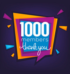 1000 members thank you banner confetti vector