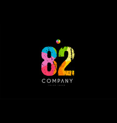 82 number grunge color rainbow numeral digit logo vector image