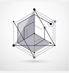 Abstract modern retro black and white 3d vector