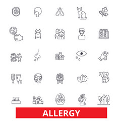 Allergy food season desease sneeze pollen vector