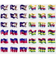 American Samoa Comoros Haiti Mauritius Set of 36 vector