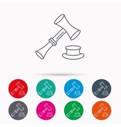 Auction hammer icon Justice and law sign vector image