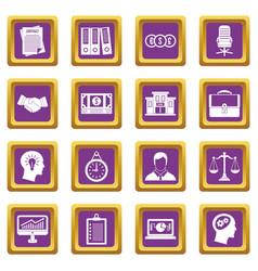 Banking icons set purple vector